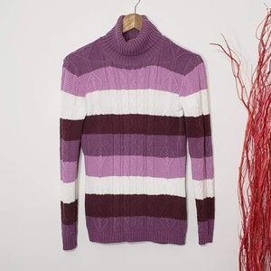 Marie Claire Purple Strip Knit Turtleneck Sweater